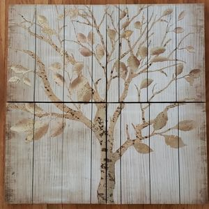4 piece gold tree faux wood on canvas wall art